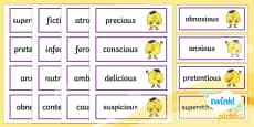 PlanIt English Additional Resources Year 5 Term 1A Word Cards