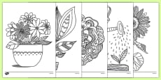 Plants and Growth Themed Mindfulness Colouring Sheets