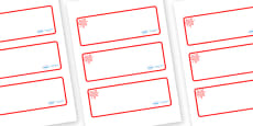 Red Themed Editable Drawer-Peg-Name Labels (Blank)