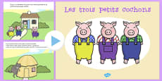 The Three Little Pigs Story PowerPoint French