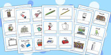 EAL Everyday Objects at School Editable Cards Arabic