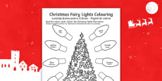 Christmas Fairy Lights Colouring Sheet
