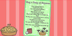 Sing a Song of Sixpence Nursery Rhyme Poster