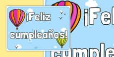 Cartel de cumpleaños Globos aerostáticos
