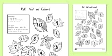 Leaf Roll and Colour Dice Addition Activity