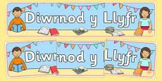 Baner Arddangos Diwrnod y Llyfr Welsh