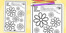 Flower Read and Colour Activity Sheet