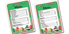 Mexican Restaurant Role Play Menu