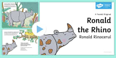 Ronald the Rhino Story PowerPoint English/Romanian