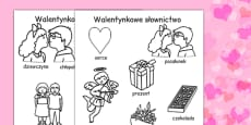 Valentines Day Words Colouring Sheets Polish