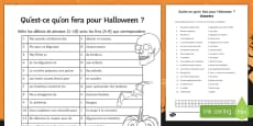 Halloween Simple Future Tense Match Up Activity Sheet