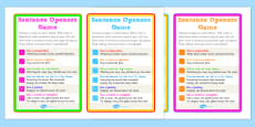 Sentence Openers Dice Activity