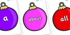 100 High Frequency Words on Baubles (Plain)