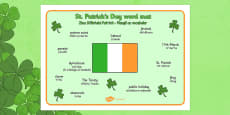 St Patrick's Day Word Mat Romanian Translation