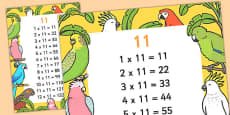 11 Times Table Display Poster