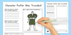 Miss Trunchbull Character Profile Activity Sheet to Support Teaching on Matilda