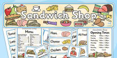 Sandwich Shop Role Play Pack