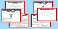 Guided Reading Skills Task Cards Story Elements Arabic Translation
