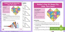 Mother's Day 2D Shape Flip, Slide, Turn Heart Activity Sheet