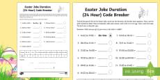 Easter Joke Time Duration (24-Hour Clock) Code Breaker Activity Sheet
