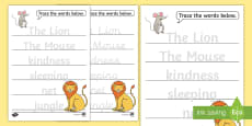 The Lion And The Mouse Trace the Words Activity Sheets