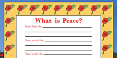 Australia - Remembrance Day 'What Is Peace?' Writing Frame