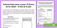 Instrucciones paso a paso: El frasco de la calma - El día de la paz
