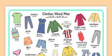 Clothes Word Mat Arabic Translation