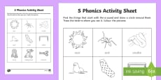 s Phonics Colouring Activity Sheet