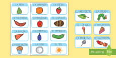 Tarjetas de vocabulario para ayudar la enseñanza de: La oruga glotona
