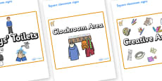 Camel Themed Editable Square Classroom Area Signs (Plain)