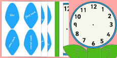 Analogue Clock Flower Labels Words German