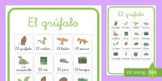 Póster de vocabulario - El Grúfalo Spanish / Español