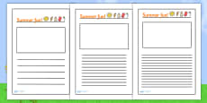 Summer Fun Writing Frames