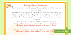 * NEW * Poetry: Using Repetition Display Poster
