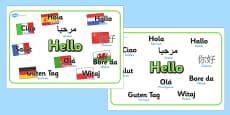 Mixed Language Hello Display Signs