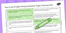2014 Curriculum UKS2 Years 5 and 6 Writing Assessment Targets Colouring Sheet