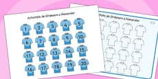 Rugby Strip Number Ordering Activity Romanian