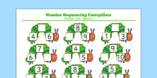 Number Sequencing Caterpillars to Support Teaching on The Very Hungry Caterpillar Polish Translation