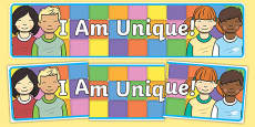 I Am Unique Themed Display Banner to Support Teaching on Elmer