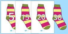 Numbers 0-31 on Socks
