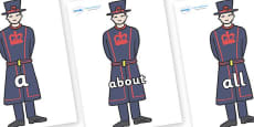100 High Frequency Words on Beefeaters