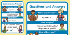 English Questions and Answers A4 Display Poster