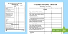 * NEW * Informative Text: Report Student Assessment Checklist