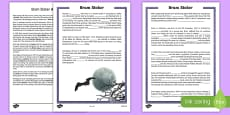 Bram Stoker 5th and 6th Class Higher Ability Cloze  Activity Sheet