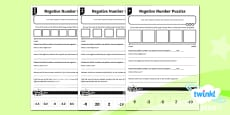PlanIt Y6 Number and Place Value Negative Number Puzzles Differentiated Home Learning