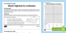 Shark Infested Co-ordinates Activity Sheet