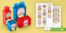 * NEW * Ice Cream Scoops Numbers to 100 Connecting Bricks Game