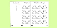 Multiplication Triangles Activity Sheet 3, 4 and 8 Times Tables