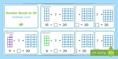 Number Shapes Number Bonds to 20 Challenge Cards